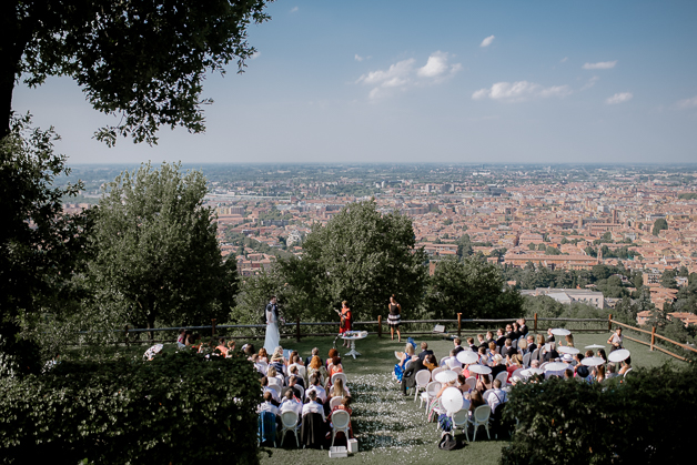 Destination Wedding Photographer in Bologna on a Stunning terrace overlooking the city, at Villa Scarani